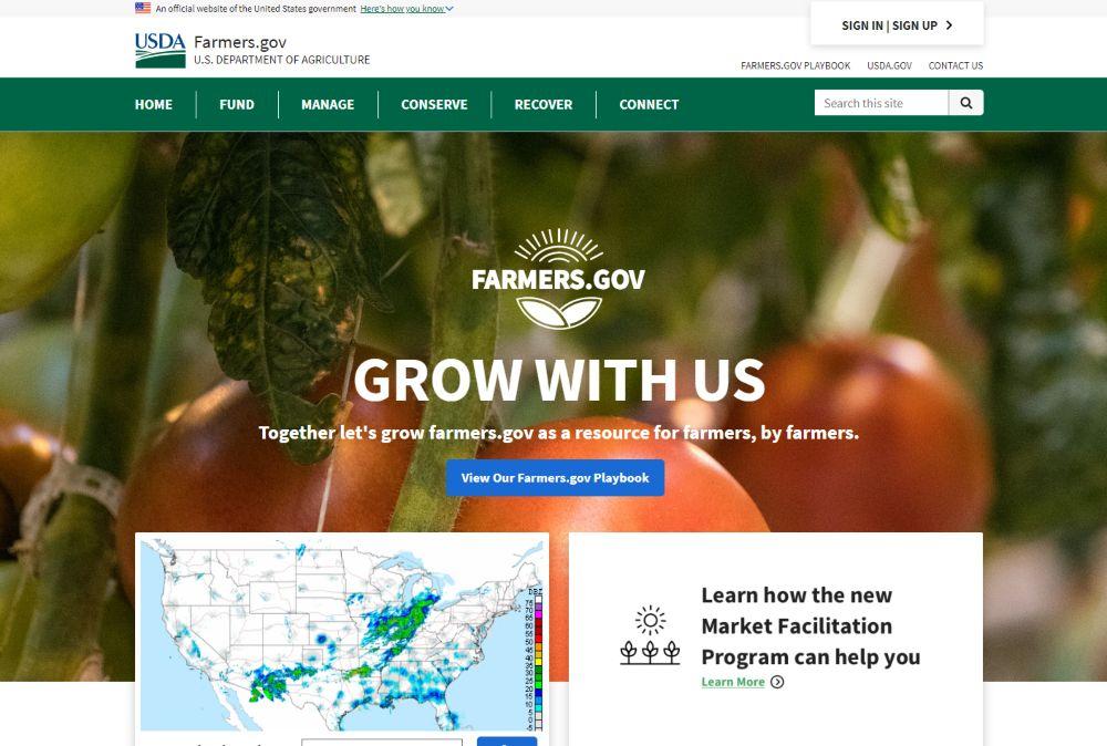 Farmers.gov homepage